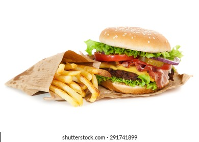 Delicious hamburger and french fries isolated on white background