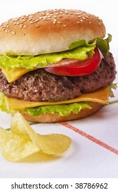 Delicious hamburger with onion lettuce and tomato