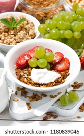 delicious healthy breakfast with fruits, granola, closeup