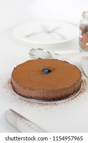 Delicious  Healthy Chocolate Cake on white background
