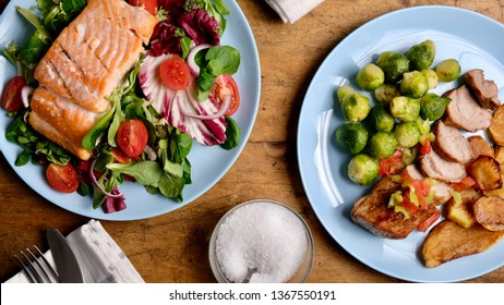 Delicious healthy food from above, salmon, shrimp and pork meat vith vegetables