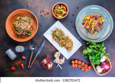 delicious healthy food salads menu concept for restaurant top view.