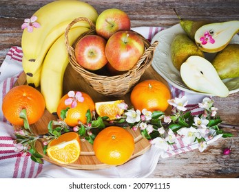 delicious healthy fruit on the table. health and diet concept