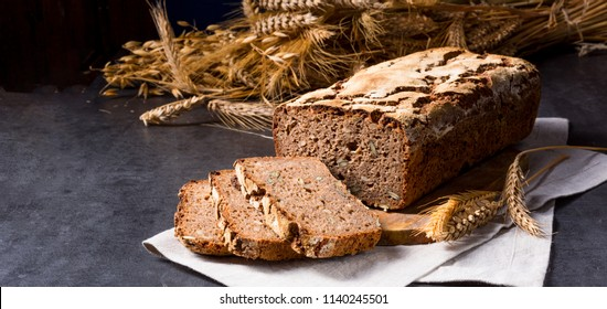 delicious and healthy home-made wholegrain bread with honey