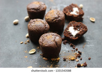 delicious healthy homemade wholegrain chocolate muffins with coconut cream cheese filling