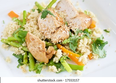 Delicious healthy light meal with chicken and couscous