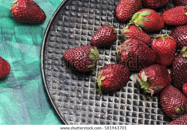 Delicious, healthy, mouth-watering, succulent strawberry, close-up. The view from the top. Proper healthy eating