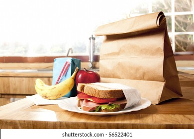 delicious and healthy school lunch with paper bag