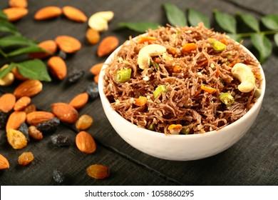 Delicious and healthy upma,uppuma,uppumav, made of ragi, finger millet noodles.