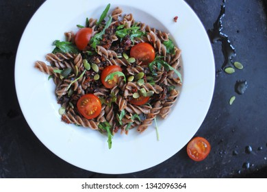 delicious healthy vegetarian pasta lunch Wirth pesto and fresh herbs