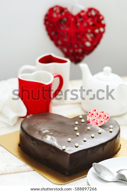 Delicious heart shaped chocolate cake.