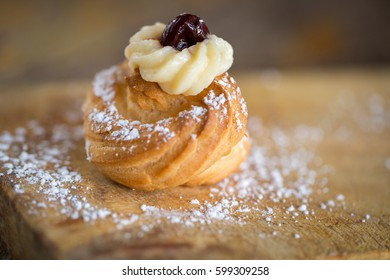 Delicious home made Zeppole pastries typical from south of Italy, Puglia, region