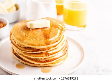 Delicious homemade breakfast with pancakes, selective focus.