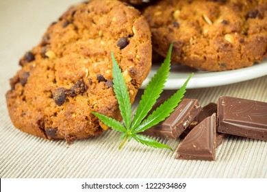 Delicious homemade Chocolate chip Cookies with CBD cannabis and leaf garnish and buds. Medicinal Edibles. Treatment of medical marijuana for use in food. Canada legalization. Rasta cookie recipe.