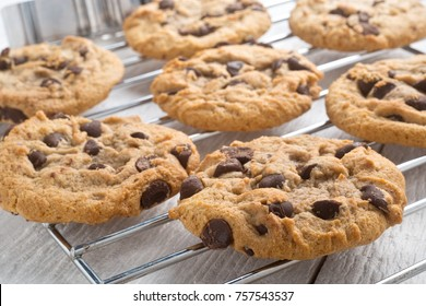 Delicious homemade chocolate chip cookies cooling on a rack.