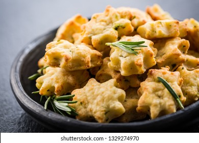 Delicious homemade cookies with parmesan cheese and rosemary