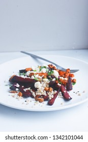 delicious homemade fit beetroot salad with healthy grains cheese and vinaigrette dressing