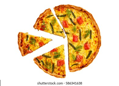 delicious homemade french quiche with red fish, green bean, sauce bechamel and Emmental cheese cut in slices isolated on white background, view from above