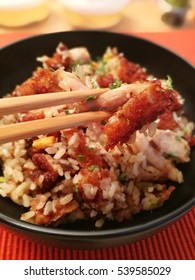 delicious homemade fried rice with chicken