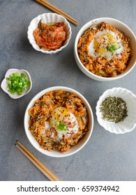 Delicious homemade fried rice with shop bought pickled Korean kimchi / Kimchi Fried Rice / Mostly household ingredients,minced beef,rice,poached eggs,chopped scallions,