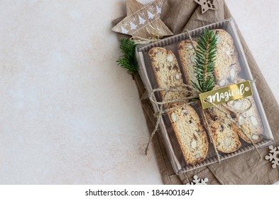 Delicious homemade Italian biscotti cookies in gift box made from craft paper. Idea for perfect sweet gift for Christmas or New Year.