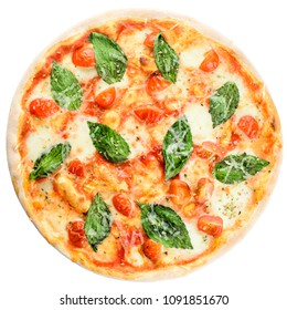 Delicious homemade Italian pizza with cheese, tomatoes and basil leaves isolated on white background. Top view, flat lay