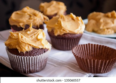 delicious homemade muffins with peanut butter icing