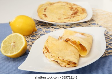 Delicious homemade pancakes with lemon