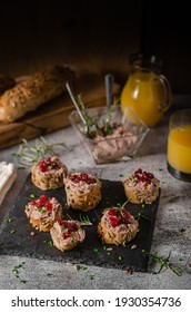 Delicious homemade pate with wholegrain pastry and herbs
