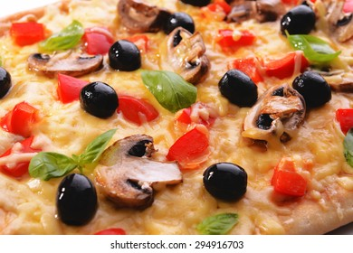 Delicious homemade pizza close-up
