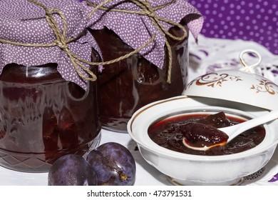 Delicious homemade plum jam in jar