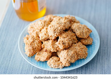 Delicious homemade sesame honey cookies on plate