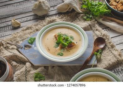 Delicious homemade soup, food photography, bio organic food