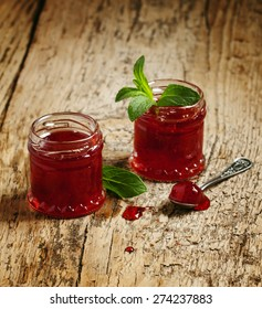 Delicious homemade strawberry jam in a jar, selective focus