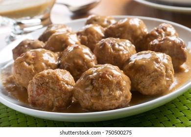 Delicious homemade swedish meatballs with mushroom cream sauce.