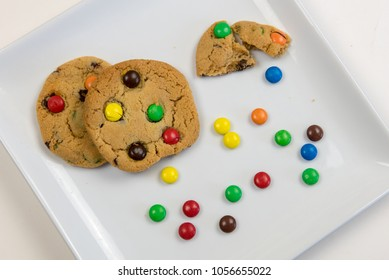 Delicious homemade sweet cookies with colorful chocolate sweets