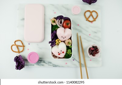 Delicious homemade take away meals / Heart-Shaped Onigiri Bento /Ideal for light eaters and weight watcher, packed with all the health goodies