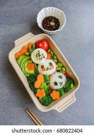 Delicious homemade vegetarian meal with animated-shaped food / Panda Bento Box Meal / Meat-free diet for a healthy and clean lifestyle.Ideal for weight watcher and busy working couples