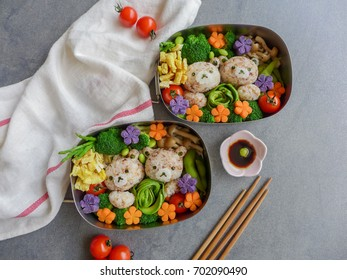 Delicious homemade vegetarian meal with animated-shaped food / Bear Bento Box Meal / Meat-free diet for a healthy and clean lifestyle.Ideal for weight watcher and busy working couples