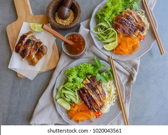 Delicious homemade vietnamese food / Vietnamese Pho with Lemongrass Chicken aka Bun Bo Xao / Made from fresh farm produce and fresh ingredients