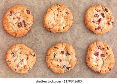 Delicious Homemade White Chocolate Chip Cranberry Cookies. Close up.