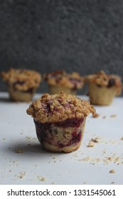 delicious homemade wholegrain muffins with fresh berries  raspberries and crunch