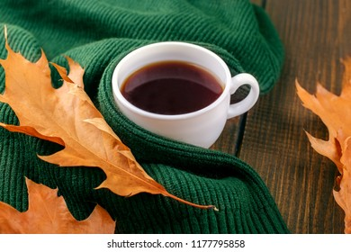 Delicious hot coffee. The concept of autumn, still life, relaxation, study.