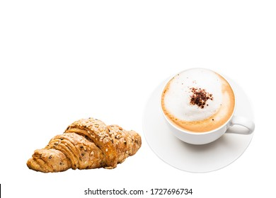 delicious hot fresh milk cup with croissantsTop view delicious fresh croissants with a cup of hot coffee cappuccino isolated on a white background
