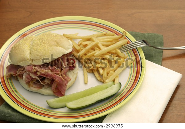 delicious hot and fresh pastrami sandwich