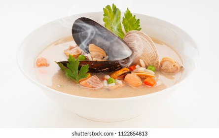 delicious and hot seafoods cream soup