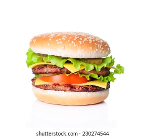 Delicious huge ham burger isolated on white