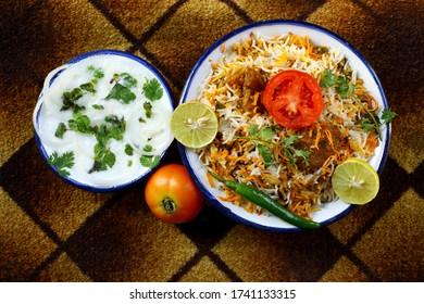 Delicious Hyderabadi mutton biryani Indian food.