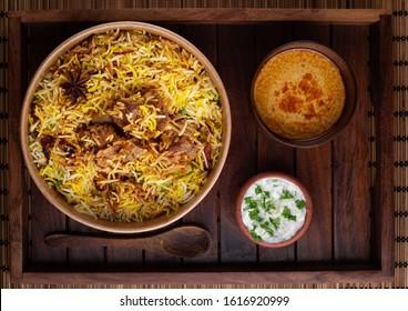 Delicious Hyderabadi mutton biryani top view