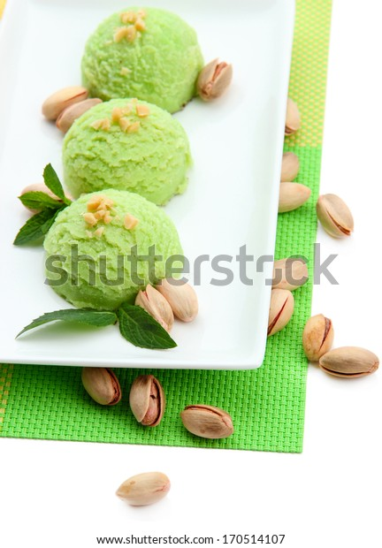 Delicious ice cream on plate close-up